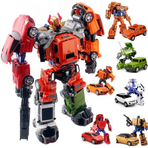 "50cm/19"" Weijiang WJ Oversized Throttlebots Adjustment Car Team complete set of 6 with combiner parts-Rollbar Searchlight Goldbug Chase Sideload Freew"